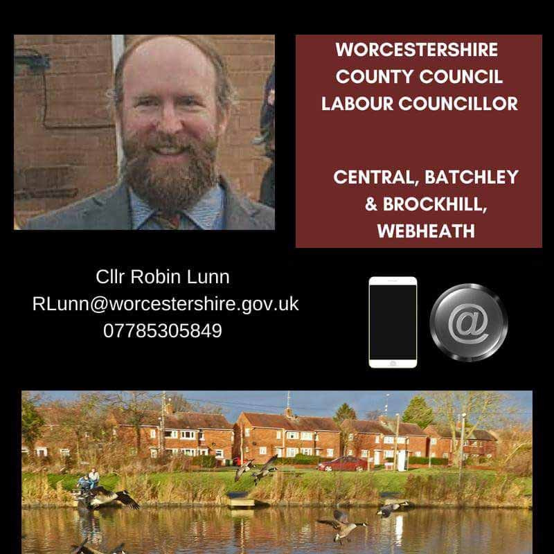 County Councillor Robin Lunn - Central, Webheath and Batchley and Brockhill Wards